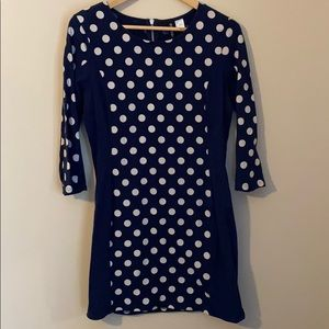 H&M Divided Polka Dot Fitted 3/4 Sleeve Dress